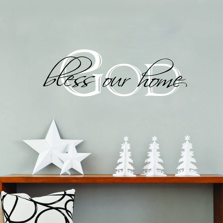 ᗜ Ljഃ God Bless Our Home Quotes Vinyl Wall Sticker Home Living Room ...