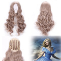 Cosplay Cinderella American Anime Pure Color 60cm Long Cheap Curly Wavy Wig Party Costume Rose Net Synthetic Hair Wigs