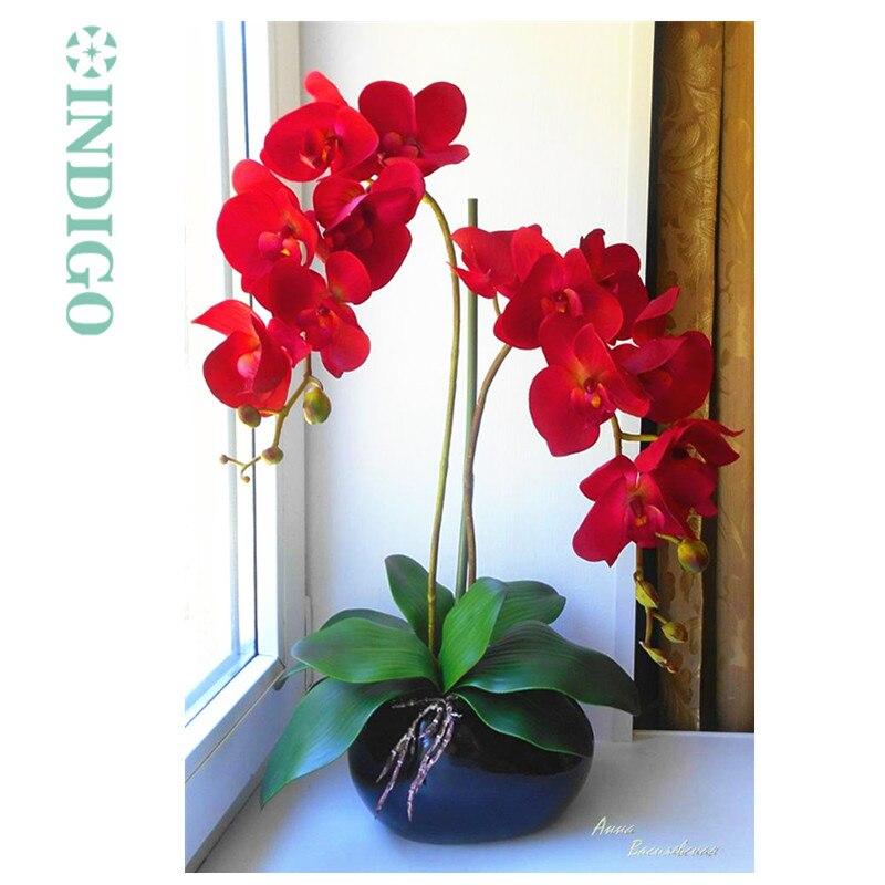 Indigo-vermelho phalaenopsis orquídeas 7 cabeças verdadeiro toque flor orquídeas decorativas flor de casamento orquídeas festa floral frete grátis