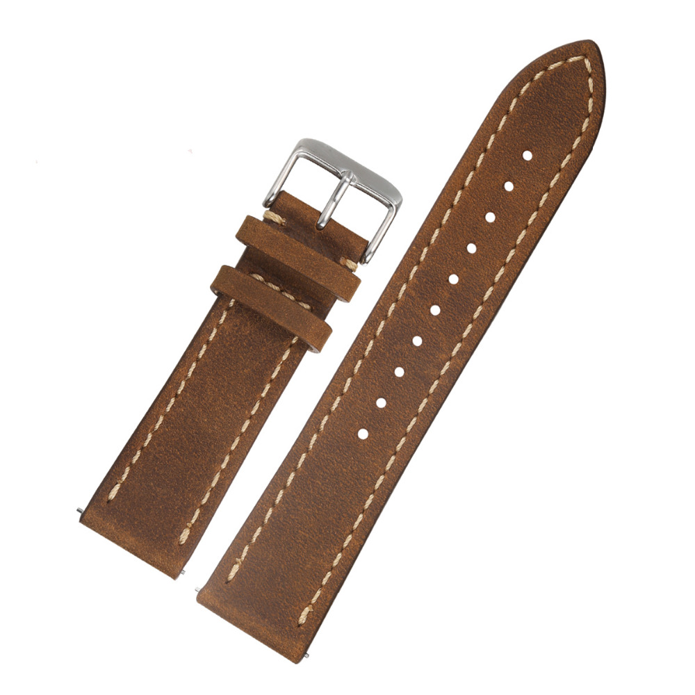 EACHE 20mm 22mm Genuine Leather Watchband light brown dark brown tan Crazy horse leather Straps Quick Release Spring bar