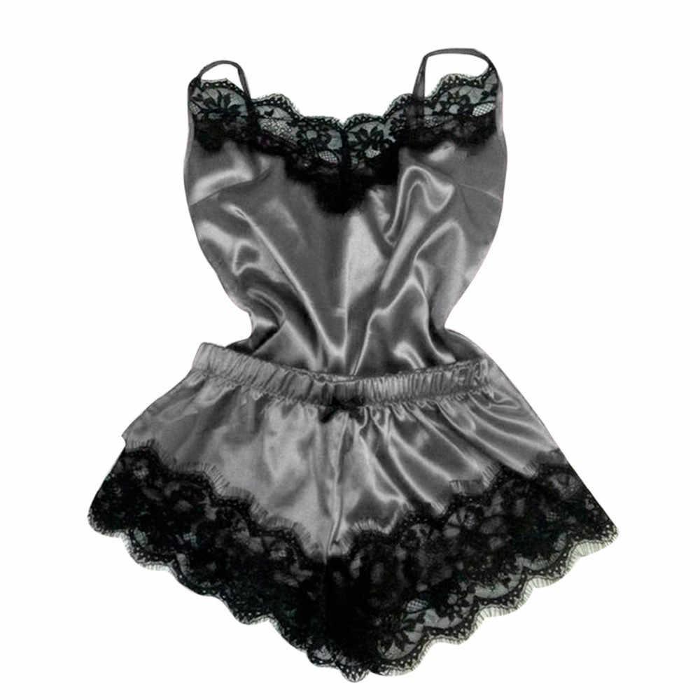 女性のパジャマセクシーなサテンパジャマセット黒レース V ネックパジャマノースリーブかわいい 9 色トップショーツスパースター mujer algodon veran