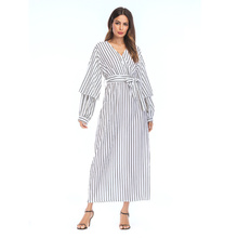 Dress Pencil Skirt Long Robe Gowns Plus Tunic Kimono Ramadan Arab Muslim Striped Abaya Maxi Islamic Clothing Worship Service