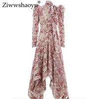 Ziwwshaoyu отпуск стиле высокого качества богемной пляжные женские длинные рукава v образным вырезом сексуальное платье праздничное платье печ