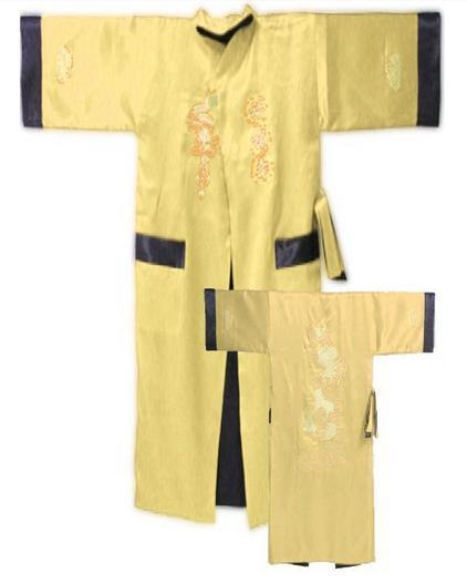 Oro Negro de Los Hombres Chinos Reversibles de Satén de Seda Robe Dos Cara Bordado Albornoz Vestido Clásico Vestido de Noche Yukata un Tamaño MR001
