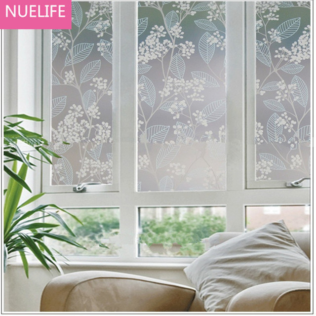 50x100cm pvc flower foliage glass film plastic sticker opaque bathroom bedroom office window stickers