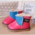 2016 nuevos Niños de los zapatos de cuero de invierno botas de Nieve Bebé Niños y Niñas botas de Algodón de Color Caramelo bebé Barco