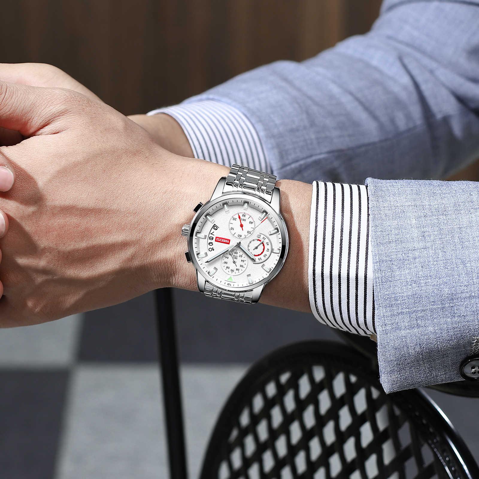 Relogio Masculino NIBOSI 2019 חדש Mens שעונים למעלה מותג יוקרה סטופר ספורט עמיד למים קוורץ איש עסקי אופנה שעון