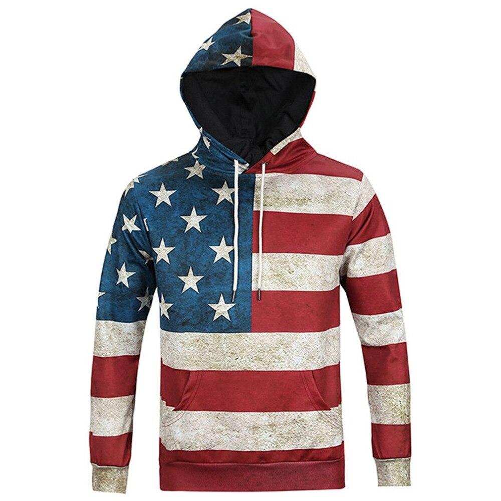 Mens Cool Hoodies 2018 Autumn Long Sleeve 3D Print American Flag Pattern Hoody Sweatershirts Male Hooded Pullover Sportwear