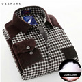 U&SHARK Winter Warm Plaid Casual Shirt Men Long Sleeve Duck Down Dress Shirts Velvet Mens Thick Flannel Shirt Camisa Masculina