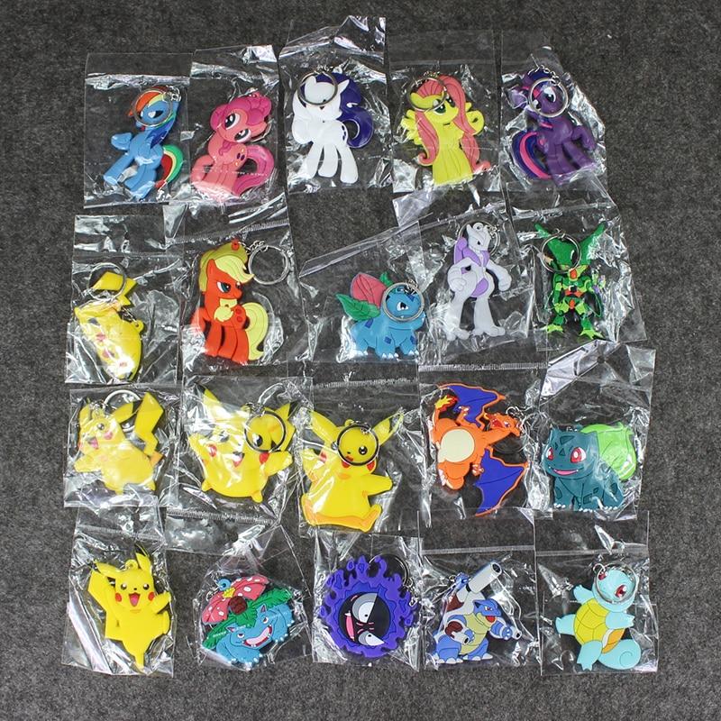 20pcs/lot Kawaii Pikachu Figure Squirtle Mewtwo Charizard Haunter Dragon Ball Cell Little Horse Mini Keychain for Kids action figure pokemon
