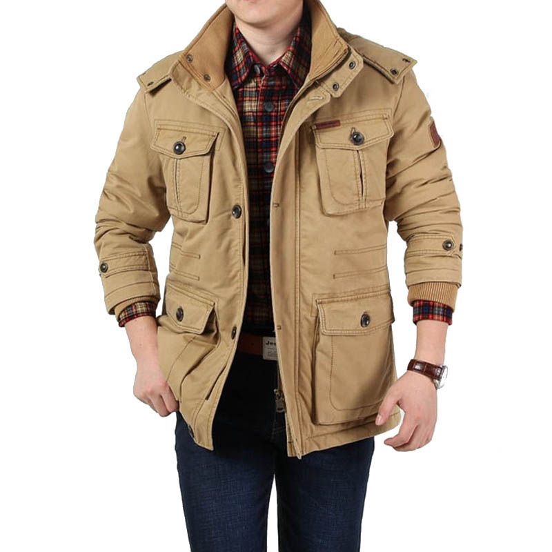 Winter Parka Jacket Men Hooded Collar Removable Thick Warm ...