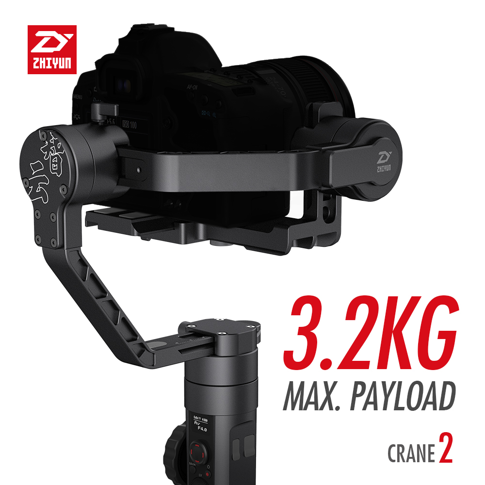 Zhiyun Crane 2 3-axis Gimbal Handheld Stabilizer support 3.2KG Follow Focus Dual Handle for DSLR Mirrorless Gyro FILM Camera yuneec q500 typhoon quadcopter handheld cgo steadygrip gimbal black