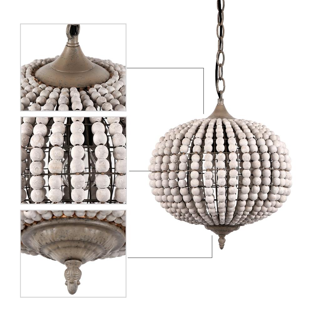American Loft vintage country ball wooden bead pendant lights E27 led hanging lamp modern for living roombedroom restaurant - 4