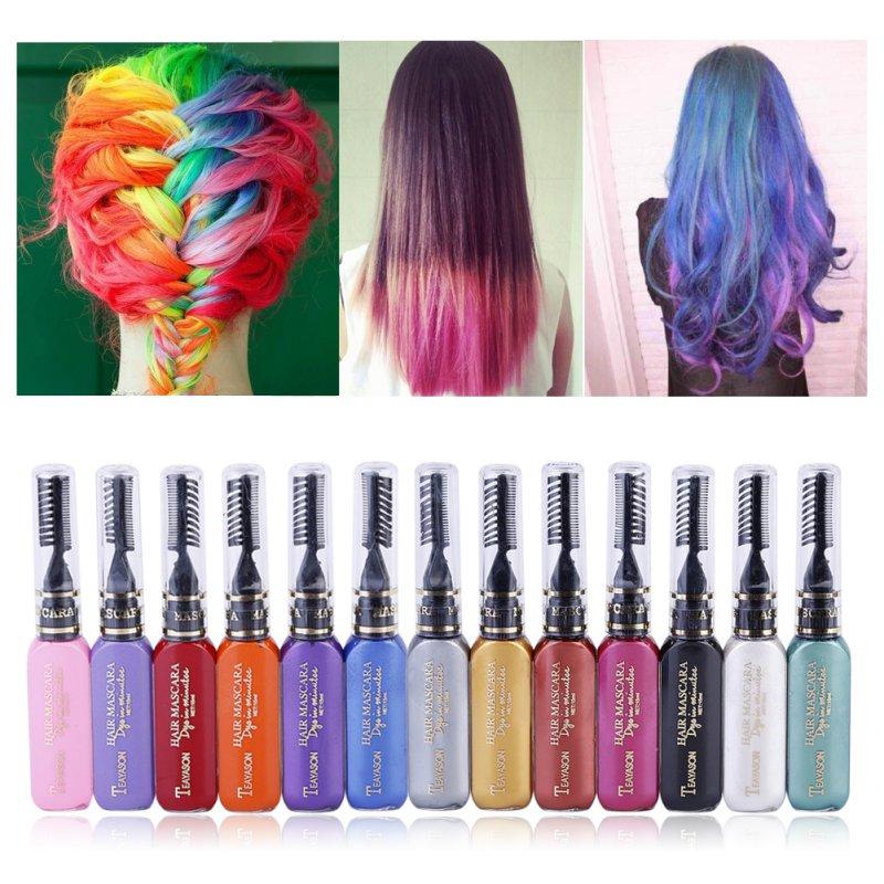 12 Colors One-time Hair Color Hair Dye Temporary Non-toxic DIY Hair Color Mascara Dye Cream Blue Grey Purple