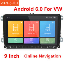hot deal buy zeepin universal 9 inch car dvd player radio android 6.0 dual din touch screen car multimedia player with ultra thin body for vw