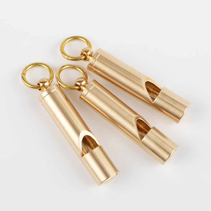 1Pcs Vintage Brass Whistle Handmade Survival Whistle Keychain Pendant Outdoor EDC Tool  Football Basketball Sports Whistle