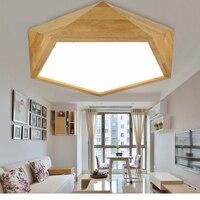 Creativo geometrica ha condotto le luci del soffitto camera da letto in legno luce calda romantico semplice in legno massello atmosfera living room lampada da soffitto