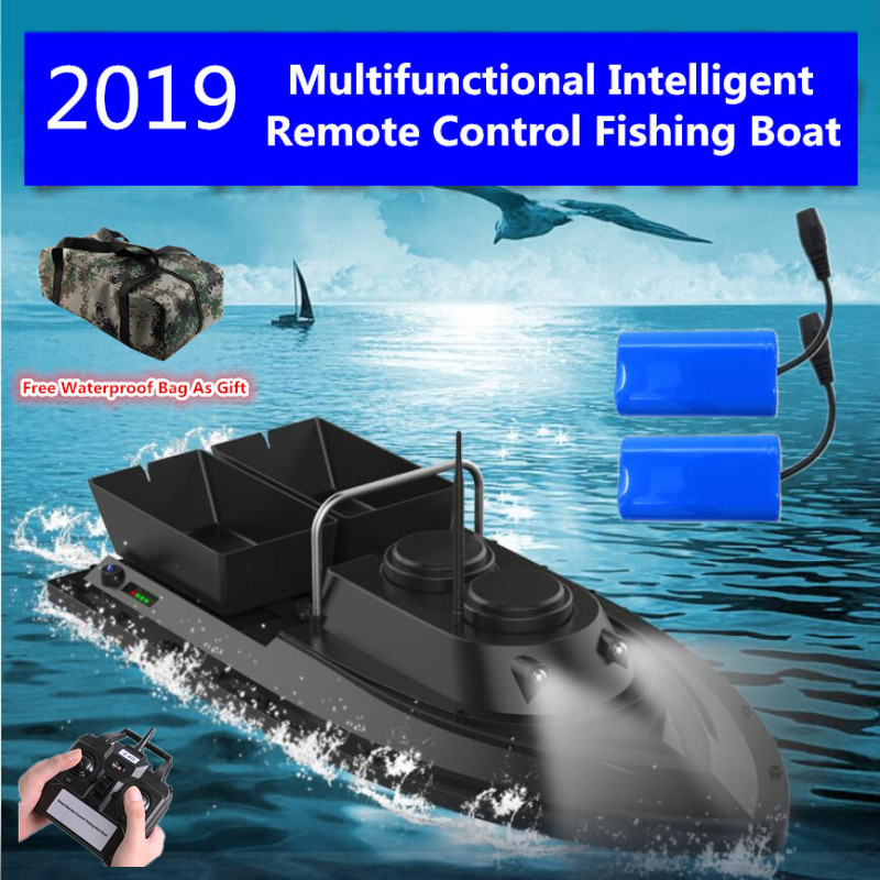 2019 Double Hopper RC Fishing Gear Boat 1.5kg Loading 500m Remote Control Bait Boat Wireless Nesting Device Fishing Bait Ship
