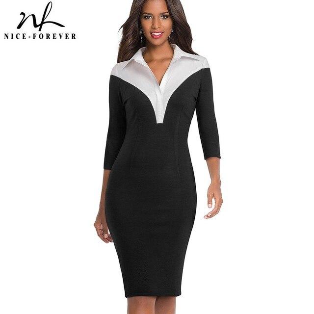 נחמד לנצח בציר ניגודיות צבע טלאי תורו למטה צווארון ללבוש לעבודה vestidos משרד עסקי נשים Bodycon שמלה b420