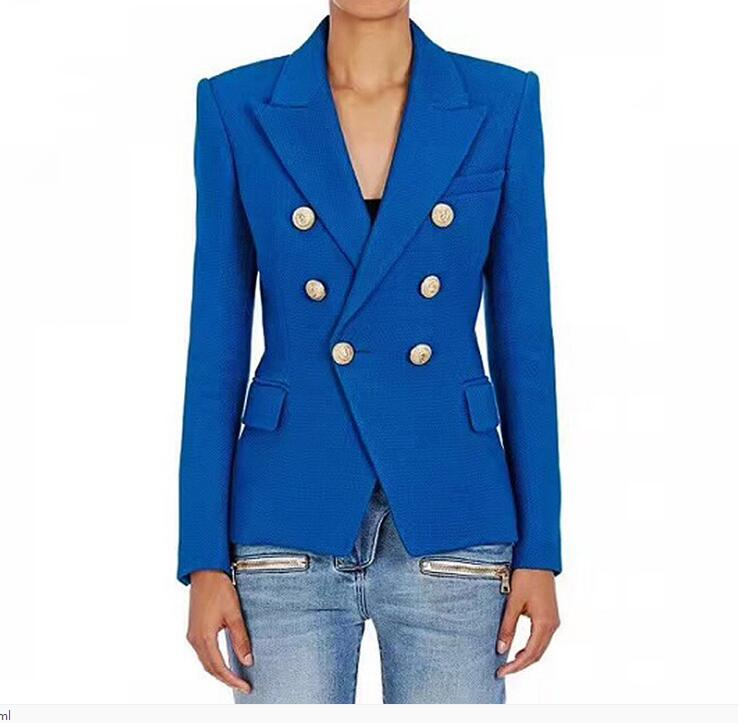 High quality brand design double-breasted suit jackets 2018 spring runways women
