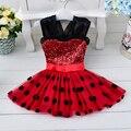 Симпатичные новые девушки англии стиль дети свадебная одежда девочки одежда блестками минни точка платье принцессы одежды де вечер