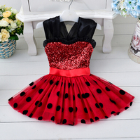 Cutest New Girls England Style Children Wedding Clothing Baby Girls Clothes Sequined Minnie Dot Princess Dress