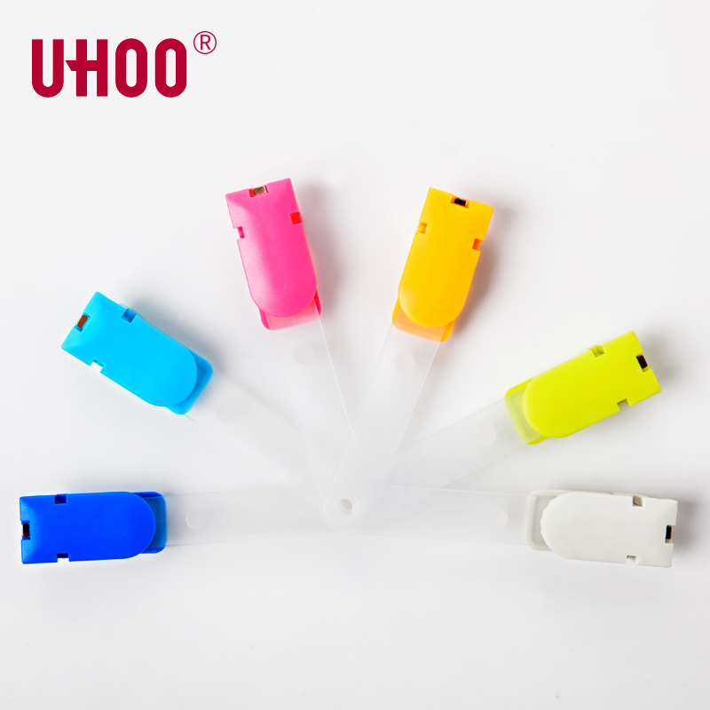 6 Pcs/lot UHOO 6702 360 Degree Rope Buckle ID Card Holder ABS Badge Reel Name Badge Holder Clips  Name Tag Clips