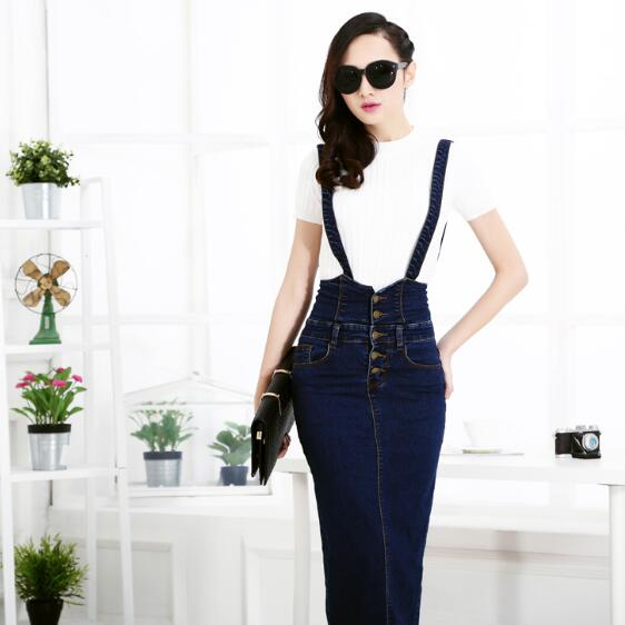 b6c7eb56b87 Plus Size Women Clothing Denim Suspender Skirt Long 2018 Hot Sale Korean  Style Casual Pencil Women