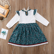 Newborn Toddler Baby Girls Matching Floral Green Princess Dress Bodysuit