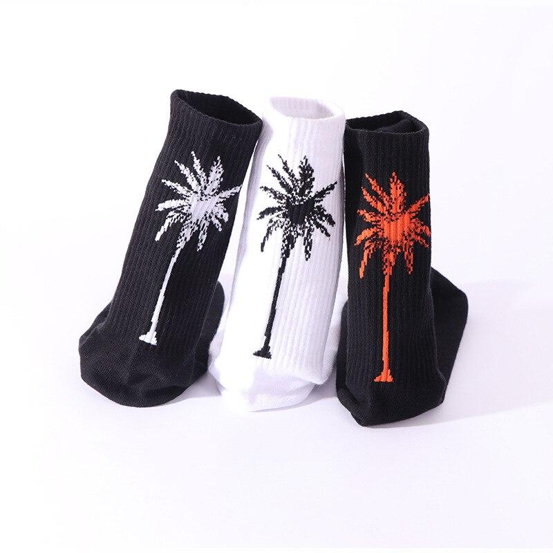 New Autumn And Winter Tube Men's Cotton Socks Street Style Couple Socks Coconut Tree Casual Comfortable Breathable Cotton Socks