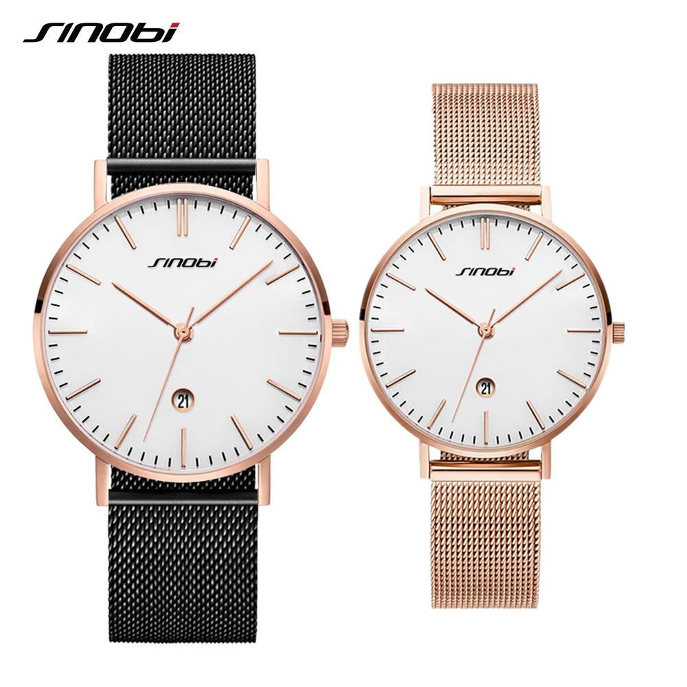 SINOBI SET Luxury brand Lovers Couple Quartz Wristwatches Mens Women Watches erkek kol saati Lovers Series Clock Relojes Mujer