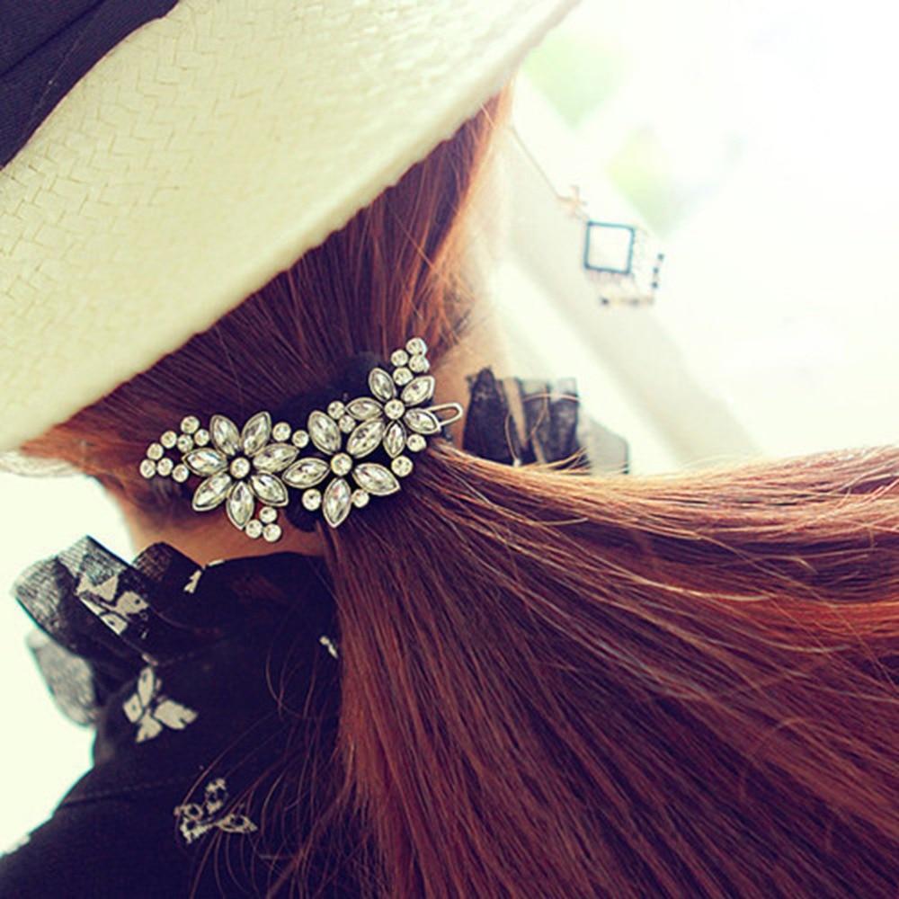 Fashion Rhinestone Flower Hair Clips Bride's Bridesmaid's Crystal Hair Clip Comb Women's Hair Jewelry