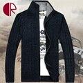 2016 la moda de invierno hombres Cardigans suéteres gruesos suéter caliente marca del Collar del soporte macho algodón del vestido ocasional prendas de punto abrigos CR1555
