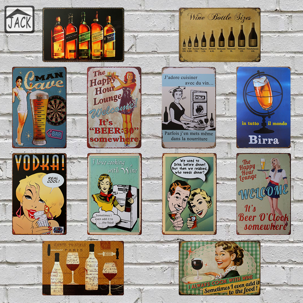 Beer Wine Whisky Advertising Poster 20X30CM Vintage Plate Metal Tin Signs Wall Decor Garage Bar Club Barn Parlor Bedroom Plaques