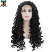 Волос SW Длинные свободные волны синтетический Синтетические волосы на кружеве Искусственные парики 1b высокое Температура Волокно половин...