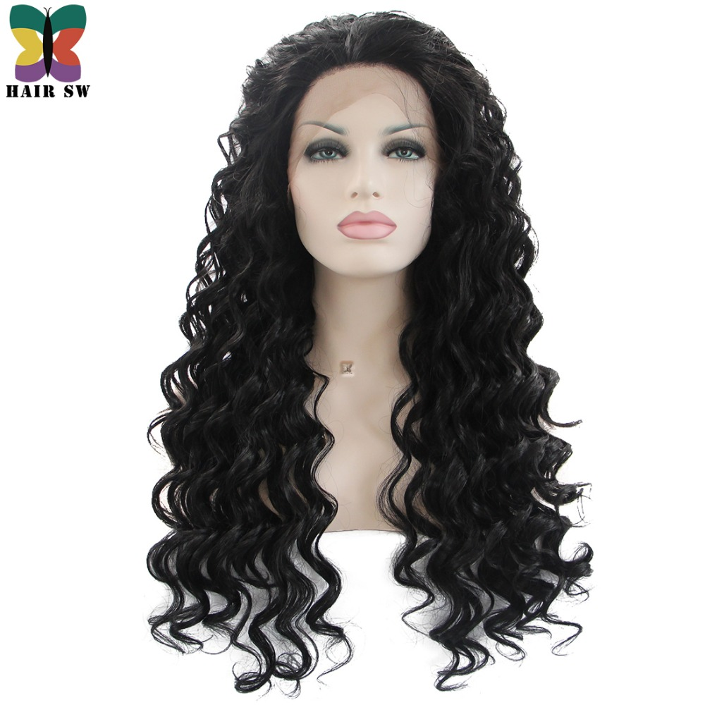 HAIR SW Long Loose Wave Synthetic Lace Front Wigs 1B High Temperature Fiber Half Hand Tied Free Part Afro Wig For Black Women