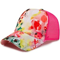 Women's Cotton Trucker Hat with Flower pattern lace Breathable mesh Snapback Baseball Cap Lolita Leisure Sport Golf Pink Gray