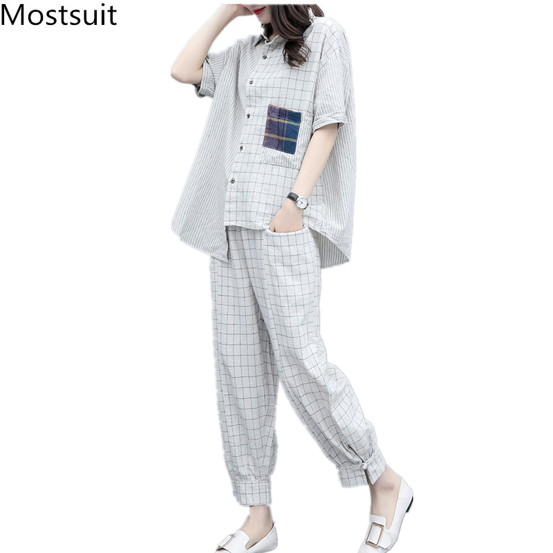 Summer Plaid Two Piece Sets Outfits Women Plus Size Short Sleeve Shirts And Pants Suits Casual Fashion Loose 2 Piece Sets Mujer 23