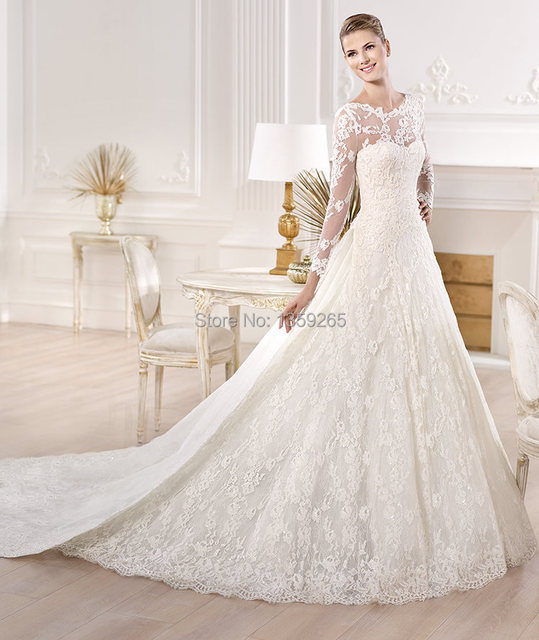Sheer Back 2014 Lace Long Sleeve Wedding Dress with Royal Train High ...