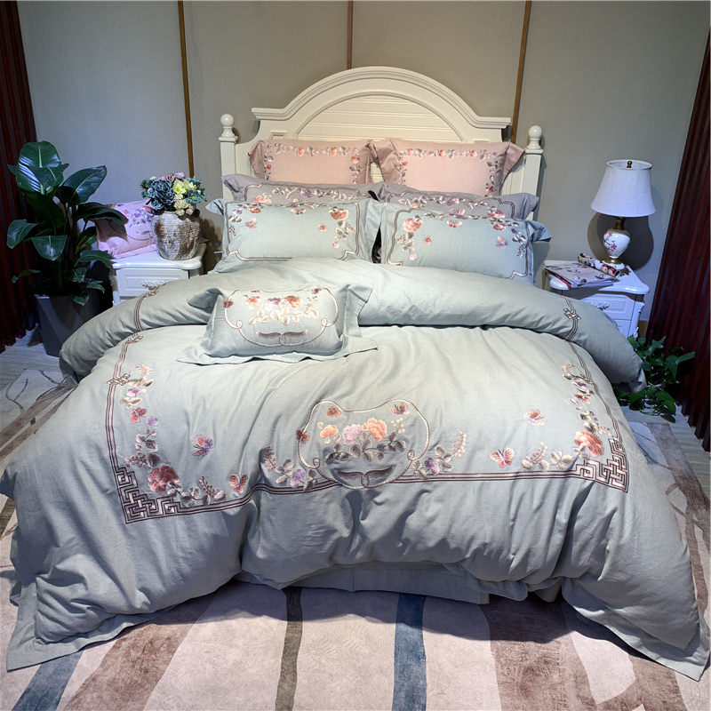Blue Pink Gray Luxury Chinese Style 100S Egyptian Cotton Flowers Embroidery Bedding Set Duvet Cover Bed Sheet/Linen Pillowcases