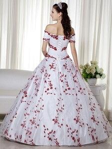 Image 4 - リアルホワイトと赤の夜会服カラフルなウェディングドレスオフショルダー刺繍コルセットバック非ホワイトブライダルドレス