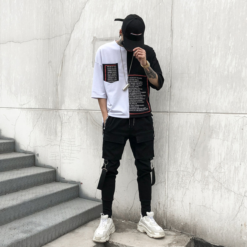 New 2018 Men 39 s Fashion Personality Slim Elasticity Haran Pants Multi Pocket Haran Pants Tootsies Singer Costumes in Skinny Pants from Men 39 s Clothing