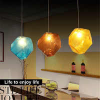 Colorful Crystal Glass Stone Lighting 1/3 Heads G9 Base Indoor Creative Color Ice Pendant Lights for Home Bar Decor Hanging Lamp