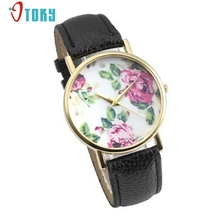Women's Fashion Beautiful Rose PU Leather Band Quartz Analog Wrist Watches Watch Creative