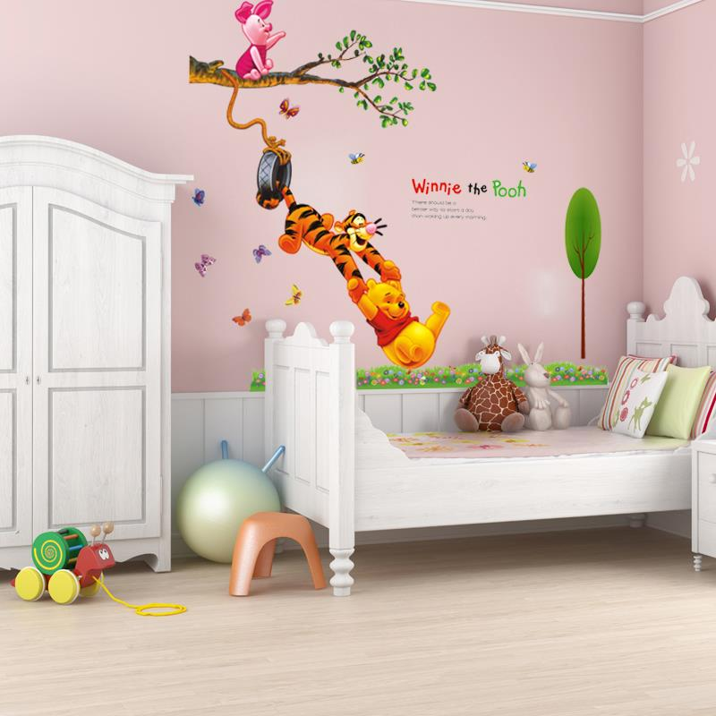 pooh cartoon animal tree vinyl wall stickers baby room home decor hd wallpaper art applique three dimensional design sale