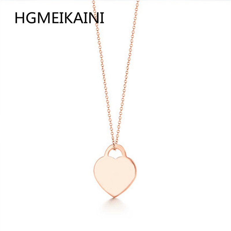 925% silver fashion really heart necklace pendant rose gold glamour girl ms Tiff necklace gift jewelry brand design