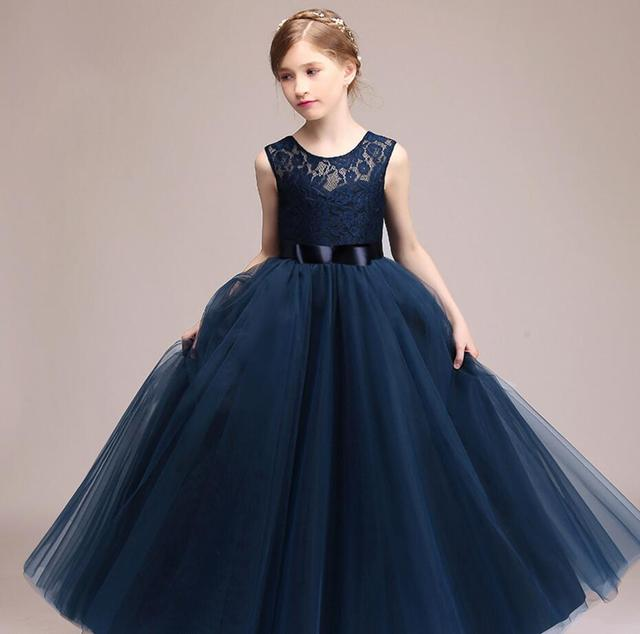 Kids Girls Wedding Flower Girl Dress Princess Party Pageant Formal Dress  Sleeveless Long Dress for Teenager Girl 5-14 Years Wear 7fdd23fdbd81