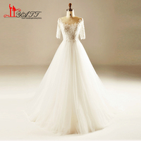 2017 Luxury Beading Wedding Dresses Real Photo Appliques Pearls Half Sleeves Sweep Train Tulle Cheap Bridal