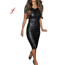 db1f57a061c Sexy brillant Bandage moulante robes 2019 licou femmes à manches courtes  Look humide Faux cuir moulante Midi gaine Sexy Skinny r.