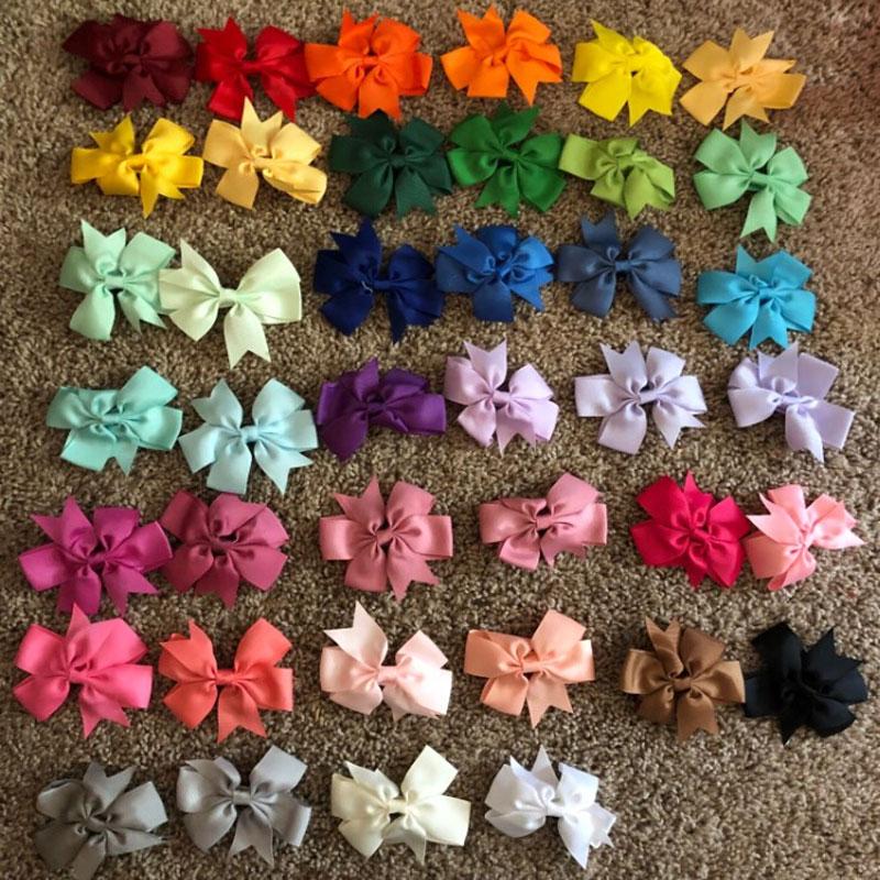40 unids/set niños colorido arco corbata horquilla chica sombreros Bowknot de la cinta pelo Clip, accesorios para el cabello para princesa niños pasador